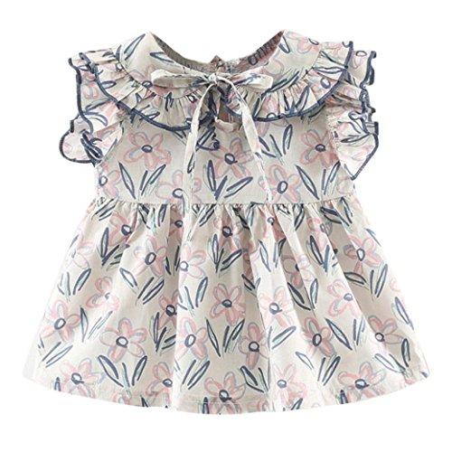 einkind Mädchen Karikatur Blume Gedruckt Ärmellos Bindegürtel Röcke Für 6-24 Monate (Lila, 6 Monate) (Verkauf Mädchen Kleider)