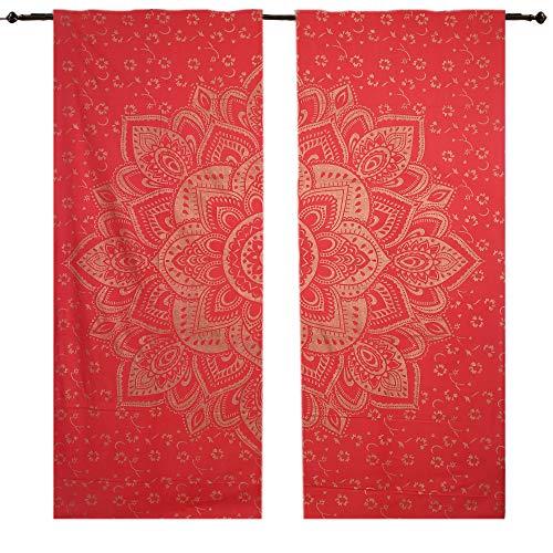 Rot Gold Tapisserie rot gold Ombre Ombre Mandala Wandteppich für, Mandala Gardinen Einsätze Paar 82Länge Set von 2Ombre Mandala Tapisserie Große, zum Aufhängen Boho Vorhängen, -