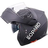 Leopard DOUBLE SUN VISOR Flip up front Motorcycle Motorbike Helmet ECE 2205 Approved - Matt Black L (59-60cm)