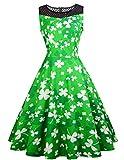 Frisch Grüner und Weißer Kleeblatt Druck Damen Kleid St. Patricks Day Damen Kostüm Swing Kleid