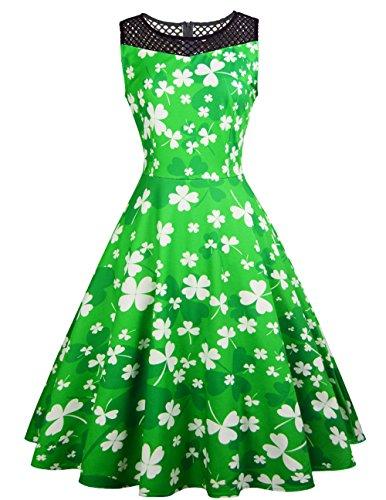 Kleeblatt Kostüm - Frisch Grüner und Weißer Kleeblatt Druck Damen Kleid St. Patricks Day Damen Kostüm Swing Kleid