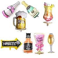 - Nouveauté festive Ballons en forme de bouteille de vin de papier d'aluminium de vin.      - Livré avec des rideaux en tinsel doré      - Les ballons sont envoyés à plat, prêts à être remplis d'hélium par vous. DIY les beaux ballons      - Parfai...