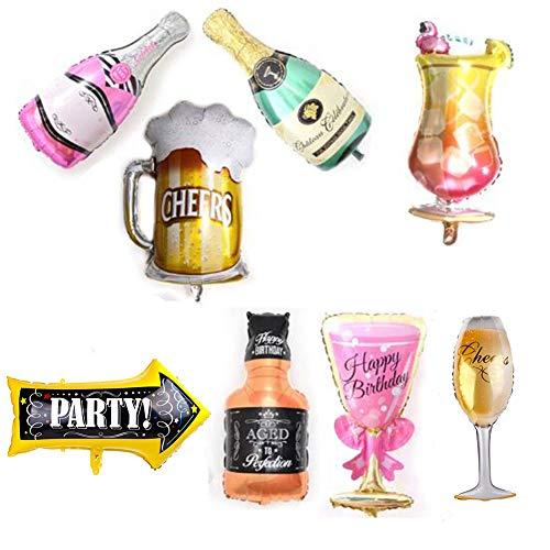 MissGood Hawaiian Ballons Champagner Wein Tasse Bier Becher Glas Whisky Cocktail Flasche Folien Ballons Sommer Beach Party Hochzeit Geburtstag Braut Dekor Supply Pack von 8