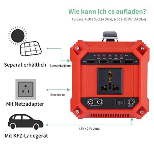 LESHP Tragbarer Stromgenerator Stromerzeuger 300W 73000mAh mit 220V Wechselstrom Steckdose 2 DC 12V Anschlüsse 4 2.1A USB Anschlüsse -
