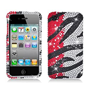 Aimo IPH4CDMAPCLDI656 Dazzling Diamond Bling Case for iPhone 4 - Retail Packaging - Zebra Orange Waterfall