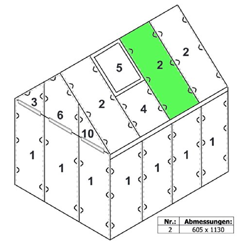 Zelsius - 6 mm Hohlkammerstegplatte '#2' (113 x 60,5 x 0,6 cm) für Gewächshaus, Garten Treibhaus,...