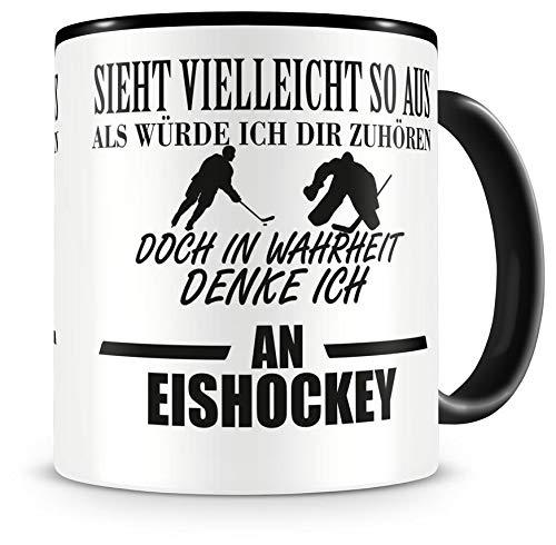 Samunshi Ich denke an Eishockey Tasse Kaffeetasse Teetasse Kaffeepott Kaffeebecher Becher