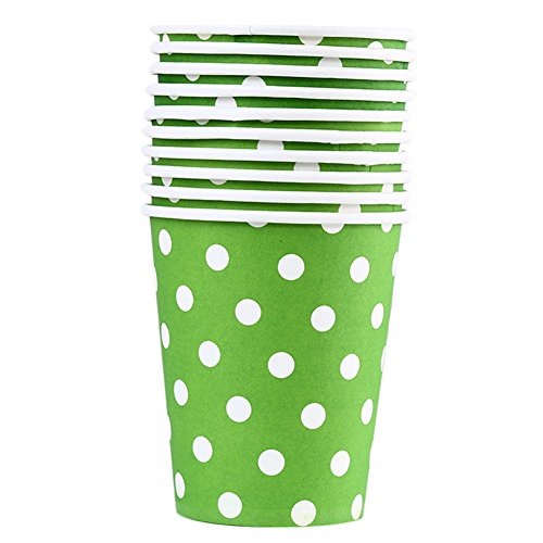 (Mackur Pappbecher mit Dot Design Einweg Hot Cold Coffee Papier Cup Baby Dusche Pappbecher für Hochzeit Party Trinken 100, Papier, grün, 8.3 * 7.4CM)