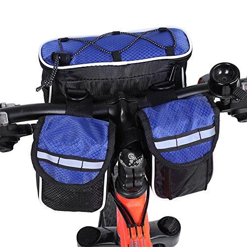 3 Farben Fahrrad-vordere Schlauch-Beutel-reflektierende Streifen-einen.Kreislauf.durchmachenfahrrad-Oberseiten-Rohr-hintere vordere Beutel Blau