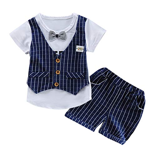 Happy Event Kleinkind Baby Kinder Jungen Bogen Weste T Shirt Tops Plaid Shorts Set Outfits Kleidung (Dunkelblau, 12-18 Months-90) Event-weste