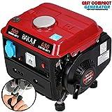 BAKAJI Generatore di Corrente Elettrico Benzina Maxi Alternatore in Alluminio Serbatoio 4,2 Lt Funzionamento con Miscela 2% 2 Tempi 63 Cilindri (AC) 230 V / 50 Hz (650w)