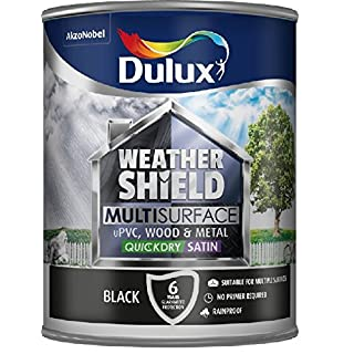 Dulux Weathershield Quick Dry Multi Surface Paint. Satin Black. 750ml for uPVC, wood and metal (no primer/undercoat required)