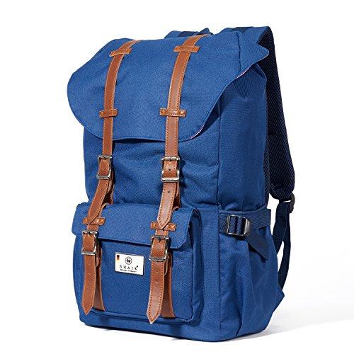 Shaik® Serie: Camper, SHR002 | Unisex Rucksack, 4 Farben Business Studenten Multifunktionsrucksack, Nylon 600D Polyester/ Linen (Blau) (Oben-rucksack Von Öffnung Große)