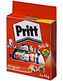 Pritt Solid Washable Non-Toxic Stick Glue, 43 g - Large, Pack of 5