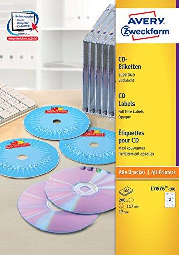 Avery Zweckform L7676-100 CD-Etiketten (A4, 200 Stück, Ø 117 mm) 100 Blatt weiß