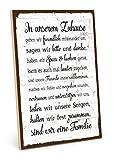 TypeStoff Holzschild mit Spruch – Familie Regeln HAUSORDNUNG – Shabby chic Retro Vintage Nostalgie deko Typografie-Grafik-Bild bunt im Used-Look aus MDF-Holz (28,2 x 19,5 cm)