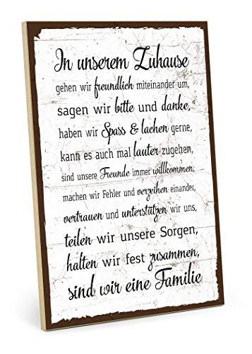 TypeStoff Holzschild mit Spruch - Familie Regeln HAUSORDNUNG - Shabby chic Retro Vintage Nostalgie deko Typografie-Grafik-Bild bunt im Used-Look aus MDF-Holz (28,2 x 19,5 cm)