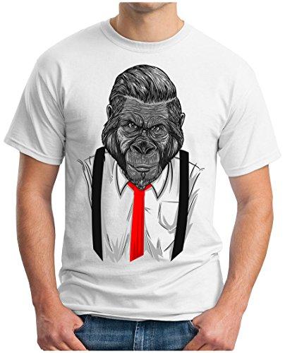 OM3 - MONKEY-BOSS - T-Shirt CHEF AFFE GORILLA HEMD KRAWATTE PARODIE DOPE GEEK EMO, XL, Weiß (Classic T-shirt-krawatte)