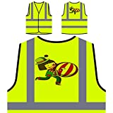 Happy clown with beachball Personalized Hi Visibility Yellow Safety Jacket Vest Waistcoat v507v