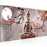 Bilder Buddha Feng Shui Wandbild 100 x 40 cm Vlies - Leinwand Bild XXL Format Wandbilder Wohnzimmer Wohnung Deko Kunstdrucke Rosa Grau 1 Teilig -100% MADE IN GERMANY - Fertig zum Aufhängen 500612b