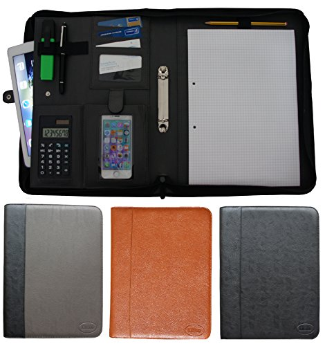 K.DESIGNS A4 Document Folder Black/Grey - The folder is made from high quality imitation leather - your ideal organiser with zip and ring binder to safely store your documents - perfect as a conference folder Test