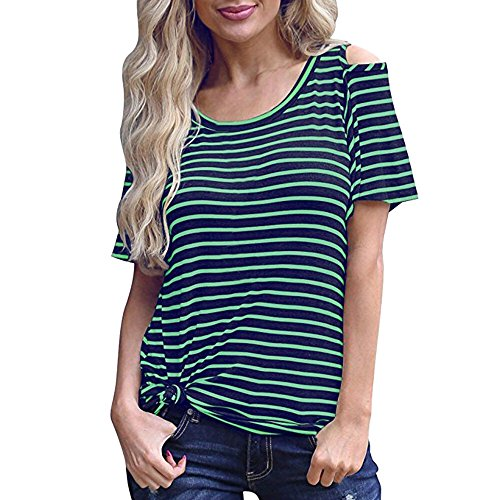 CAOQAO Damen Sexy Einfarbig BeiläUfige TräGerlose Gestreifte Kalte Schulter Kurzarm T-Shirt Tuniken Bluse Atmungsaktives Laufshirt(XL,Grün)
