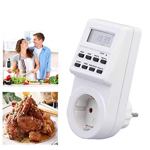 ZqiroLt Outlet-Timer, 12/24 Stunden Plug-in programmierbares Digital Socket Outlet Timer Light Switch Home-EU Plug
