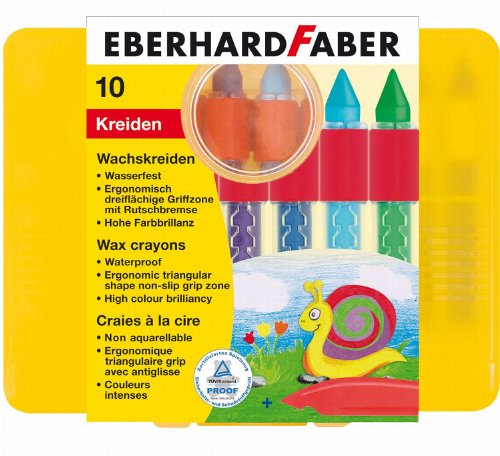 Eberhard Faber 521010 - Wachskreide, wasserfest, 10er Etui