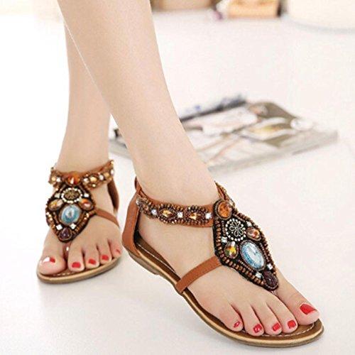 Ouneed® Frauen böhmische Art Reißverschluss Ebene Schuhe Kederleiste beiläufige geöffnete Zehe Sandalen Damen Erwachsene Zehentrenner Braun
