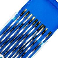 TEN-HIGH Electrodos de tungsteno, Lanthanum 1.5%, WL15 (Gold) Electrodo de tungsteno de cerio, paquete de 10 piezas