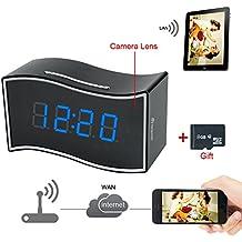 TEKMAGIC 8GB 1920x1080P HD Inalámbrico WIFI Red Reloj Cámara Espía Detective de Movimiento de la Videocámara 160 ° Ángulo de Visión Amplio Grabadora de Vídeo con Interfaz Ethernet RJ45