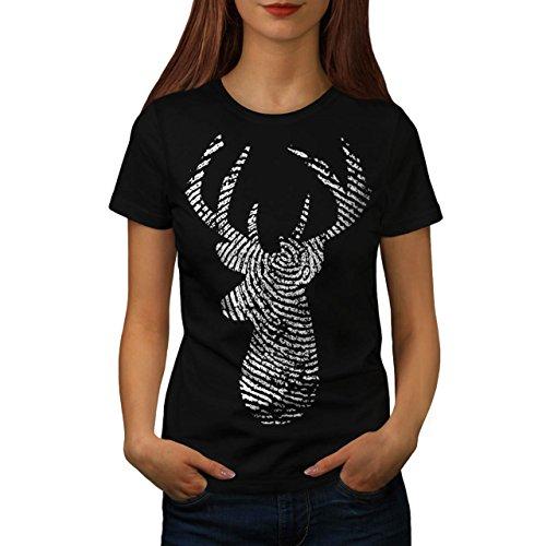Hirsch Finger Drucken Tier Damen S-2XL T-shirt | Wellcoda Black