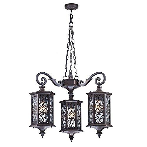 Antiker klassischer Kronleuchter außen, schwarzes und messingsfarbiges Alu, Schirme aus klarem Glas mit Gitter, 3-flammig, 3xE27 60W IP44 220V