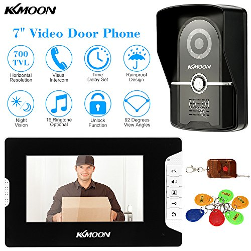 KKMOON 7 Inch Wired Video Door Phone System Video Door Phone Doorbell Video Entry System Intercom; Visual Intercom Doorbell with Monitor +700TVL Outdoor Camera + 6*RFID Card + Remote Control support Unlock Infrared Night View Rainproof Lock Time Delay