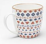 KARE Tasse Art Cuisine Colore 450 ml, Durchmesser: 10,5 cm, Höhe: ca. 10,5 cm, Material: glasiertes Porzellan, Kaffeetasse / Kaffeebecher in besonderem Design, spülmaschinenfest, mikrowellengeeignet, Farbe:orange