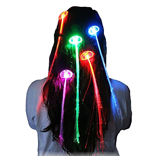 Ruikey mehrfarbige Cool Charm LED helle Haare Leucht Leuchtfaser Ornamente Weihnachtsbeleuchtung Kopfschmuck