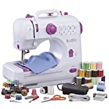 Koölle Electric Compact Sewing Machine With 16 Coloured Thread Spools 16 Coloured Bobbins 5 Needles 1 Needle Threader Measuring Tape Thimble and Foot Pedal - 2 Year Warranty.