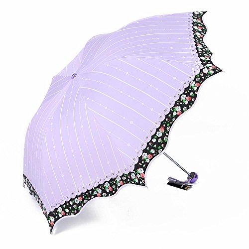 HYHAN Regenschirm Damen kleine frische UV-Sonnenschutz 30 Prozent Vinyl Regenschirm (Sunny Day oder einem regnerischen Tag verwenden können) , yellow , 55cm*7k ultra light
