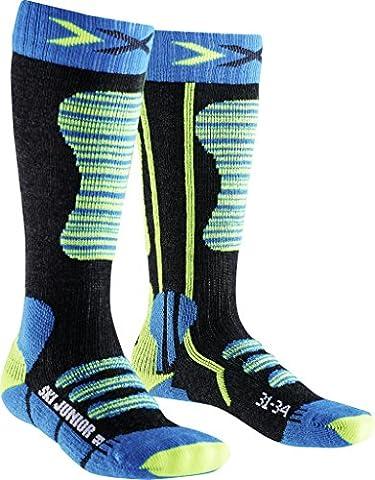 X-Socks Chaussettes de ski pour enfant, Enfant, SKI JUNIOR, Turquoise/Yellow