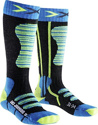 X-Socks Kinder Ski Junior Strumpf, Turquoise/Yellow, 27/30