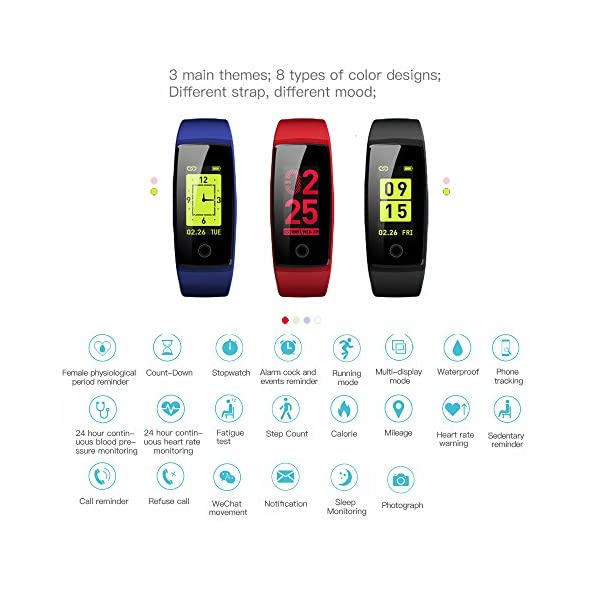 JC Beauty Fitness Tracker NEW Technology Smart Watch Sport Band IP67 Waterproof With PHYSIOLOGICAL PERIOD REMINDER Heart Rate Monitor Smart Bracelet Wristbands Step Calories Counter