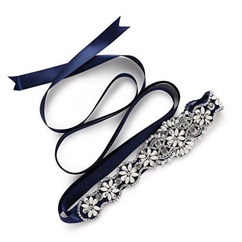 SWEETV Kristall Gürtel Braut Schärpe Strass Gürtel mit Band - Handgemachter Hochzeit Schmuckgürtel Kleid Zubehör, Königsblau (Hochzeit Schärpe Kleid)