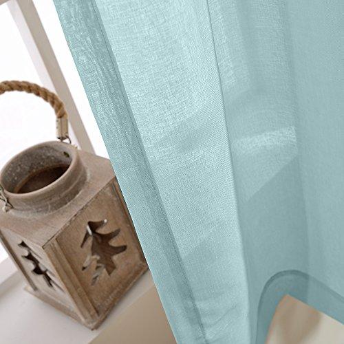 TOPICK Sheer Vorhang mit Ösen transparent Gardine 2 Stücke Gaze paarig schals Fensterschal Vorhänge 241 cm x 140 cm(H x B),2er-Set,Blau - 3