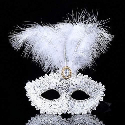 Lady Halloween White Kostüm - QTJKH Horror Maske Venezianische Maskerade Maske Maskerade Parteien Halloween Parteien Masken Kleid Kostüm Lady Geschenke Party Masken @ White