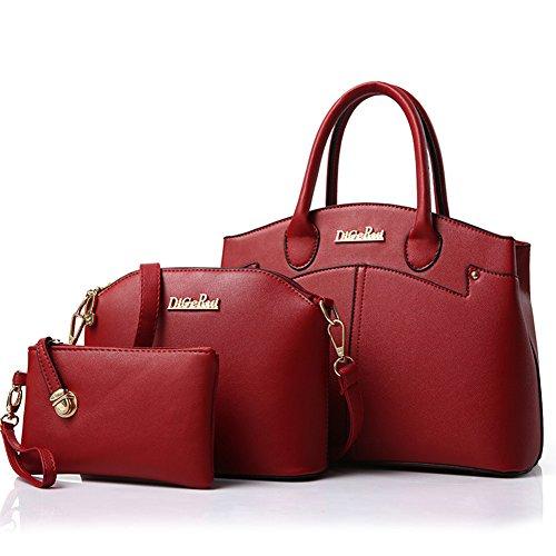 fanhappygo Damen Handtaschen PU Leder Leder Handtaschen Schulter Wallet Geldbörse Beutel Tote Schultaschen Messenger Bags rot