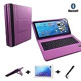 3er Starter Set für Acer Iconia Talk S A1-734 Deutsche Bluetooth Tastatur Tasche + Touch Pen + Schutzfolie - 7 Zoll Lila Bluetooth 3in1