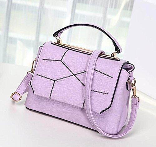 PU Leder Schulter Handtasche Elegantes Design Top Handle Fashion Handtaschen Für Frauen Purple
