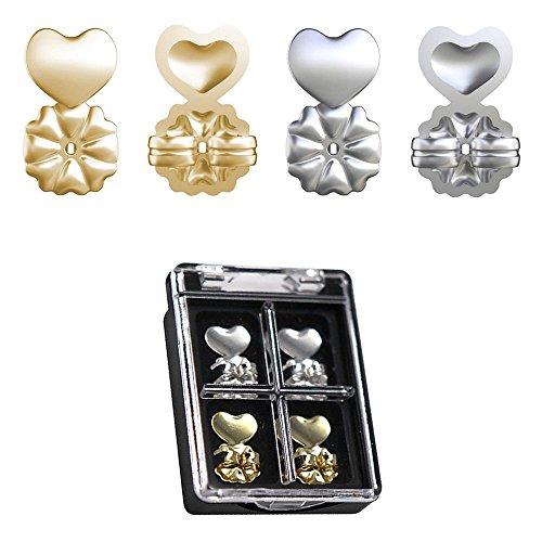 Kobwa Magic Bax – 2 pares de elevadores de pendientes ajustables hipoalergénicos para todos los pendientes – 1 par de oro + 1 par de plata