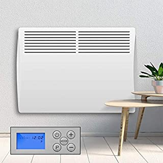Devola Electric Panel Heater 1kW - LOT 20 Compliant Energy Efficient. Fully Programmable Digital 24 Hour 7 Day Timer With Thermostat, Slimline Wall Mounted Panel Heater, Bathroom Safe1000W