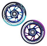 1 x Team Dogz Stunt Scooter Wheel 100mm Blue Purple Black Mixed 88A PU Rubber With Chrome Alloy Metal Swirl Core And ABEC 11 Bearings